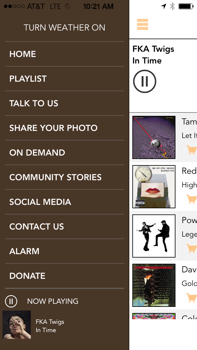 Radio Milwaukee app menu