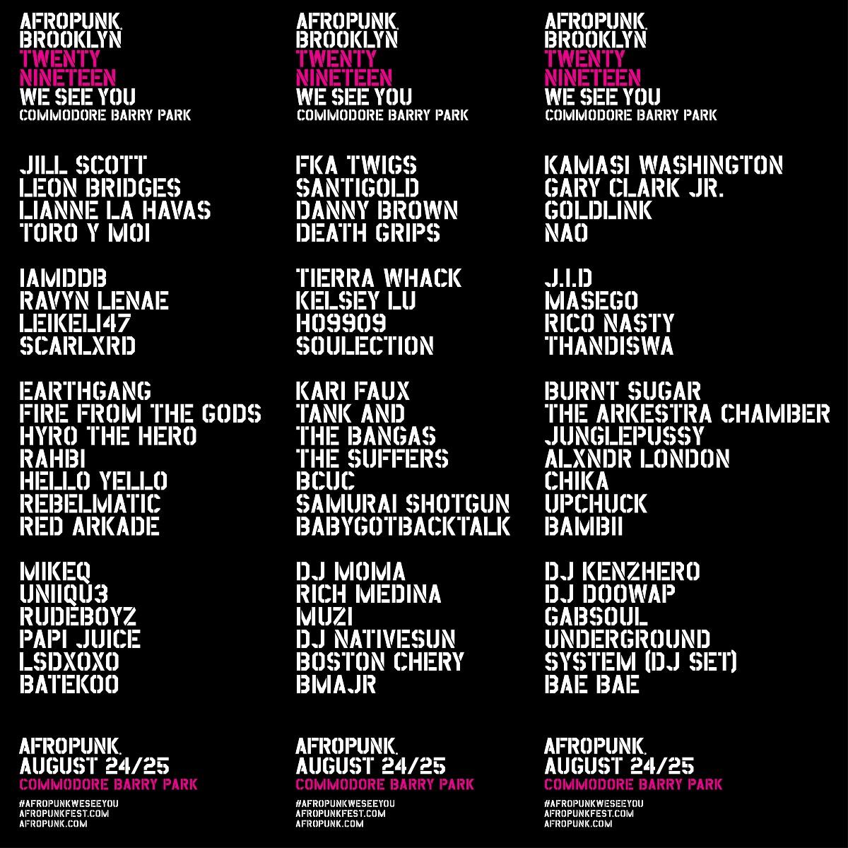 Afropunk Festival 2019 Lineup in Brooklyn